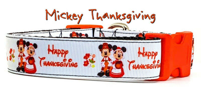 Mickey Thanksgiving dog collar handmade adjustable buckle collar 1