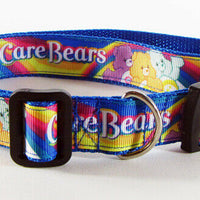 "Care Bears dog collar handmade adjustable buckle collar 1"" wide or leash fabric - Furrypetbeds"