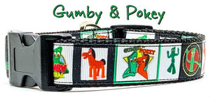 "Gumby & Pokey dog collar handmade adjustable buckle 1"" or 5/8"" wide or leash - Furrypetbeds"