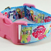 "My Little Pony dog collar handmade adjustable buckle collar 1""wide or leash $12 - Furrypetbeds"