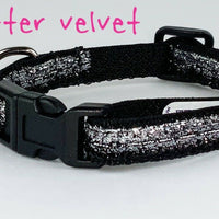 "Silver Glitter cat & small dog collar 1/2"" wide adjustable handmade bell leash - Furrypetbeds"