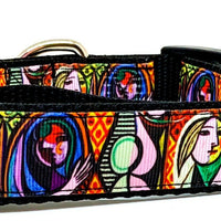 "Picasso dog collar handmade adjustable buckle collar 1""wide or leash fabric $12 - Furrypetbeds"