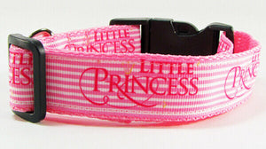 "Princess Dog collar handmade adjustable buckle collar 1"" wide or leash Pink $12 - Furrypetbeds"