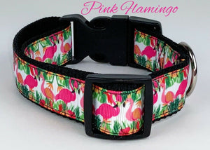"Pink Flamingo dog collar Handmade adjustable buckle collar 1"" wide or leash $12 - Furrypetbeds"