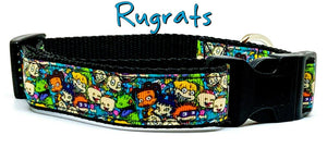 "Rugrats Dog collar handmade adjustable buckle collar 1"" wide 5/8"" wide or leash - Furrypetbeds"