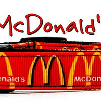 "McDonald's dog collar handmade adjustable buckle 1""or 5/8"" wide or leash"