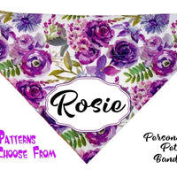 Personalized Dog Bandanas over the collar pet bandana Floral Dog collar bandana - Furrypetbeds