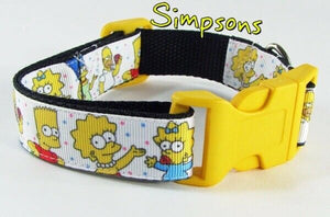 "Simpsons dog collar Handmade adjustable buckle collar 1""wide or leash $12 collar - Furrypetbeds"