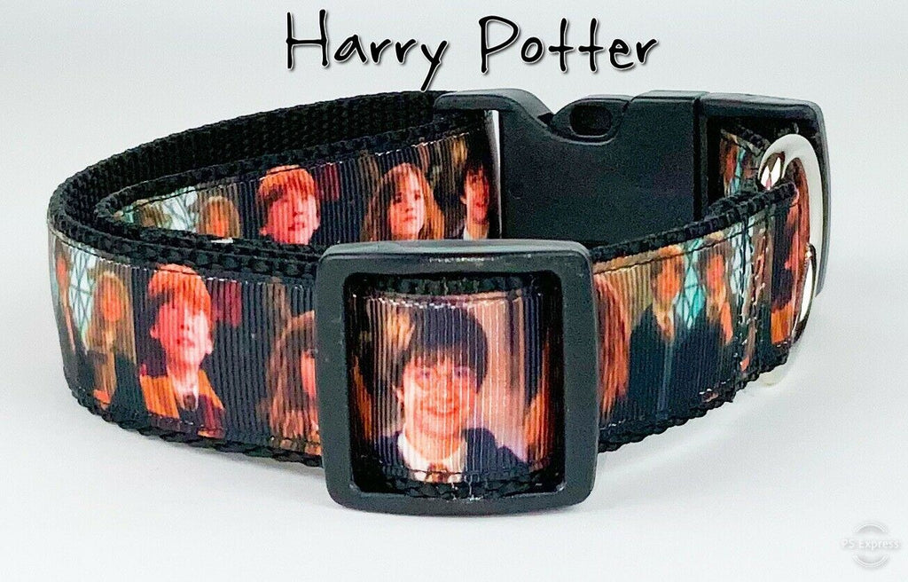 "Harry Potter dog collar Handmade adjustable buckle collar 1"" wide or leash movie - Furrypetbeds"