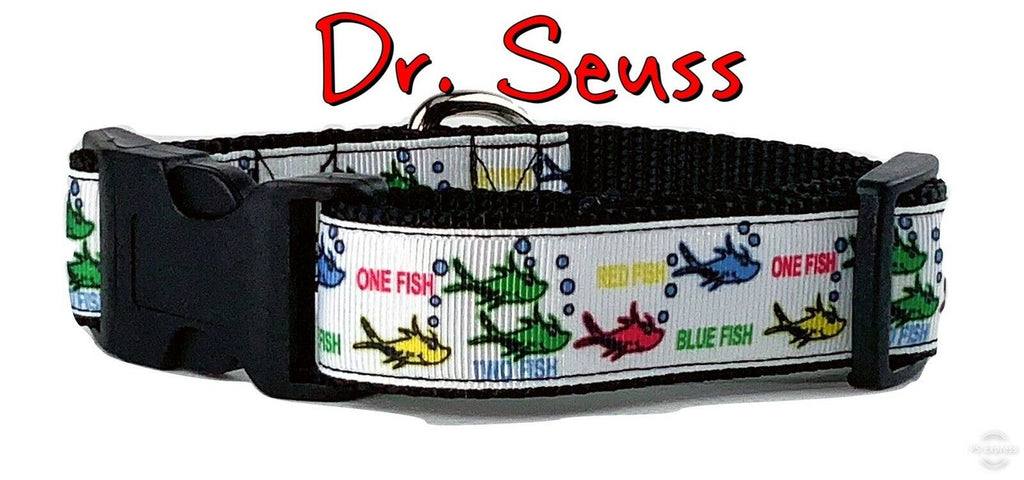 "Dr.Seuss dog collar Handmade adjustable buckle collar 1""wide or leash $12 collar - Furrypetbeds"