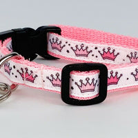 "Princess cat & small dog collar 1/2"" wide adjustable handmade bell Or leash - Furrypetbeds"
