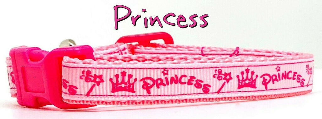 "Princess cat or small dog collar 1/2""wide adjustable handmade or leash - Furrypetbeds"