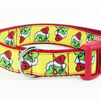 "The Grinch dog collar handmade adjustable buckle collar 1""wide or leash Xmas - Furrypetbeds"