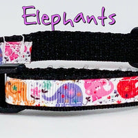 "Elephants cat or small dog collar 1/2"" wide adjustable handmade bell leash - Furrypetbeds"