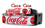 "Coca Cola dog collar handmade adjustable buckle collar 1""or 5/8"" wide or leash"