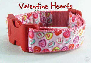 "Valentine hearts dog collar handmade adjustable buckle collar 1""wide or leash - Furrypetbeds"