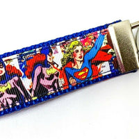 "Supergirl Key Fob Wristlet Keychain 1""wide Zipper pull Camera strap - Furrypetbeds"