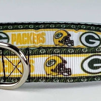 "Packers dog collar handmade adjustable buckle collar 5/8"" wide or leash fabric - Furrypetbeds"