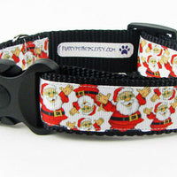 "Santa dog collar handmade adjustable buckle collar 1"" wide or leash Christmas - Furrypetbeds"