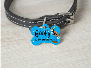 Pet ID Tag GOOFY Personalized Custom Double Sided Pet Tag w/name/number - Furrypetbeds