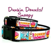 "Dunkin Donuts/ Snoopy dog collar handmade adjustable buckle 1""or 5/8"" wide"