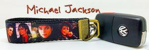 "Michael Jackson Key Fob Wristlet Keychain 1""wide Zipper pull Camera strap - Furrypetbeds"