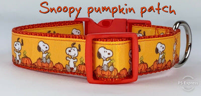 Snoopy Pumpkins dog collar handmade adjustable buckle collar 1