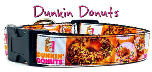 "Dunkin Donuts dog collar handmade adjustable buckle collar 1"" wide or leash - Furrypetbeds"