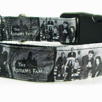 "Adams Family Dog collar Handmade adjustable buckle collar 1""wide or leash $12 - Furrypetbeds"
