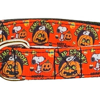 "Snoopy Halloween dog collar handmade adjustable buckle 1"" or 5/8"" wide or leash - Furrypetbeds"