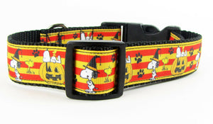 "Halloween Snoopy dog collar, handmade, adjustable, buckle collar, 1""wide, leash - Furrypetbeds"