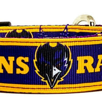 "Ravens dog collar handmade adjustable buckle football 1"" or 5/8"" wide or leash"