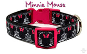 "Minnie Mouse dog collar handmade adjustable buckle 1""or 5/8"" wide or leash - Furrypetbeds"