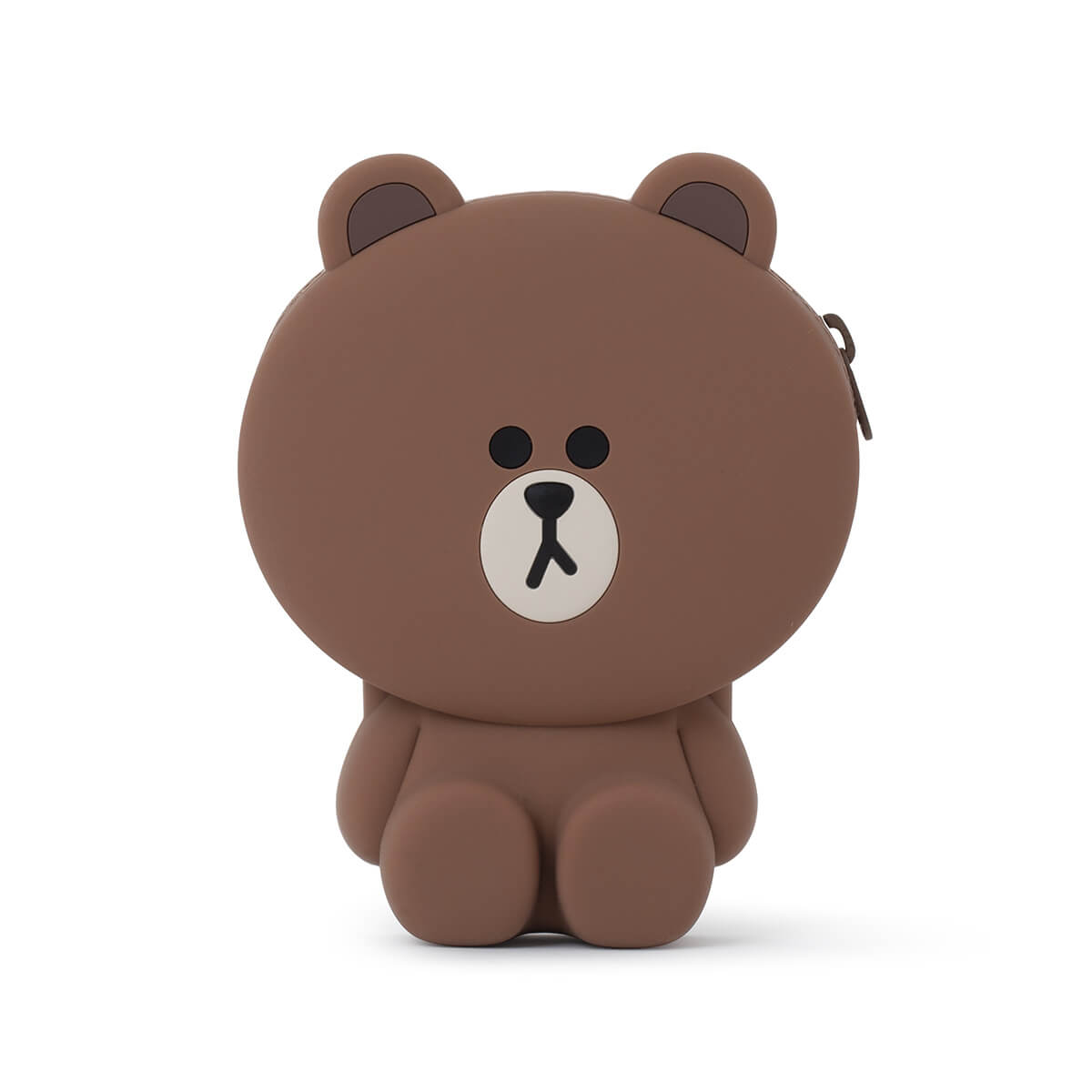 LINE FRIENDS BROWN Silicone Zippered Card Wallet