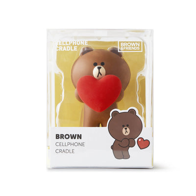 LINE FRIENDS BROWN Heart Figurine Phone Holder