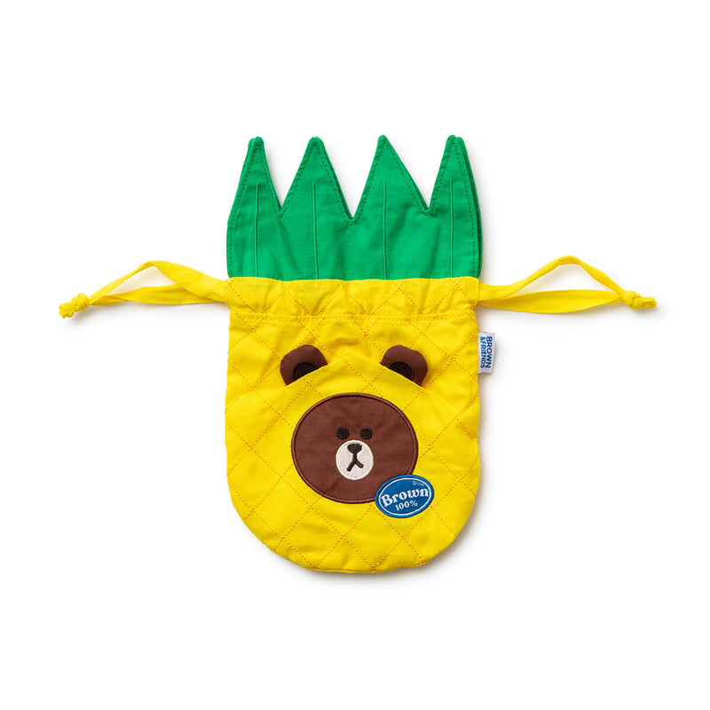 BROWN Fruity Pineapple Drawstring Cinch Pouch