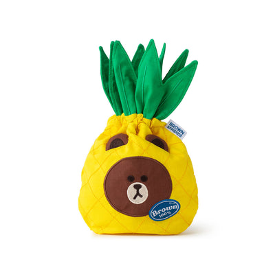 LINE FRIENDS BROWN Fruity Pineapple Drawstring Cinch Pouch