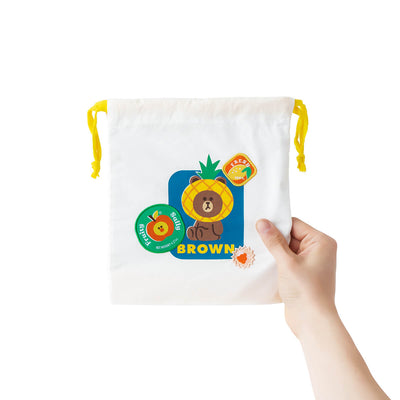 LINE FRIENDS BROWN & SALLY Fruity Drawstring Pouch