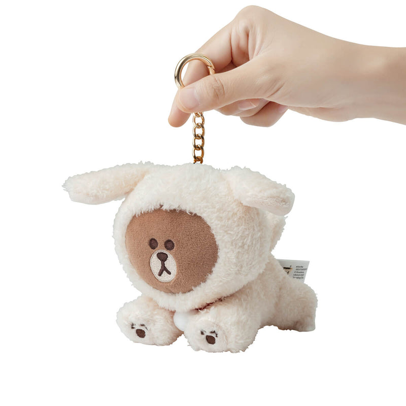 LINE FRIENDS PUPPY BROWN Plush Bag Charm Ivory