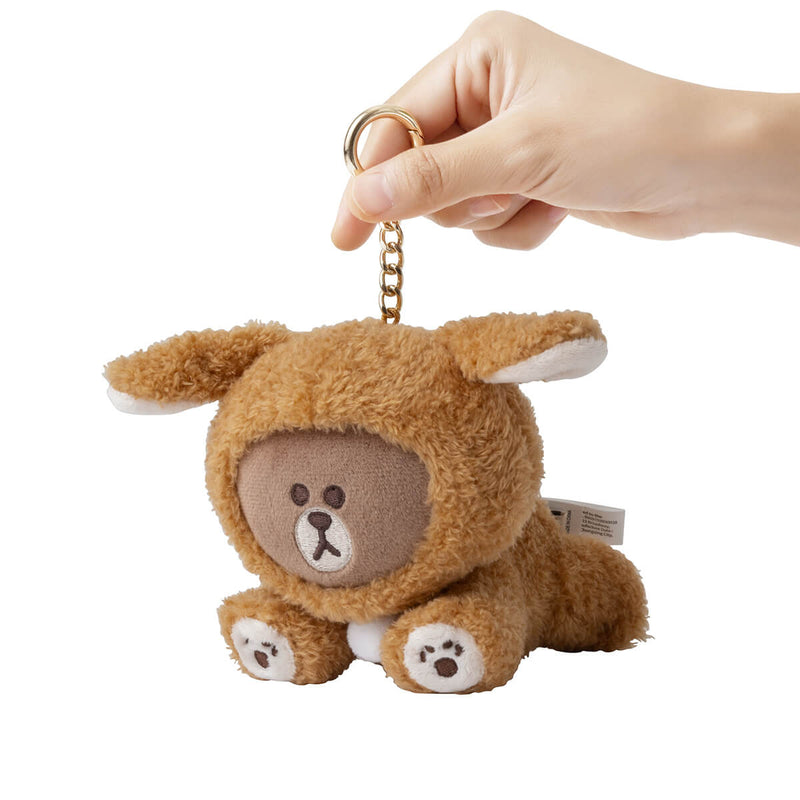 LINE FRIENDS PUPPY BROWN Plush Bag Charm Amber