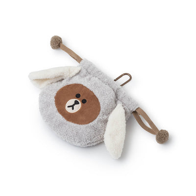LINE FRIENDS PUPPY BROWN Drawstring Pouch Grey