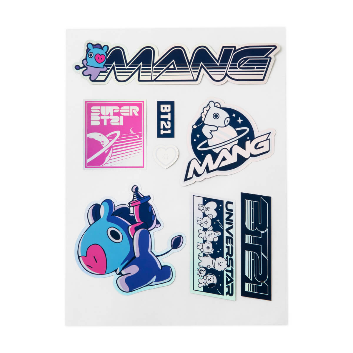 BT21 MANG Space Wappen Holographic PVC Decal Sticker Sheet