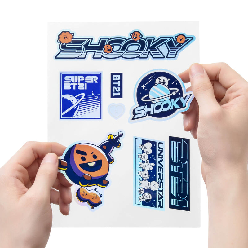 BT21 SHOOKY Space Wappen Holographic PVC Decal Sticker Sheet