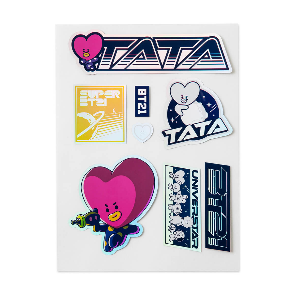 BT21 TATA Space Wappen Holographic PVC Decal Sticker Sheet