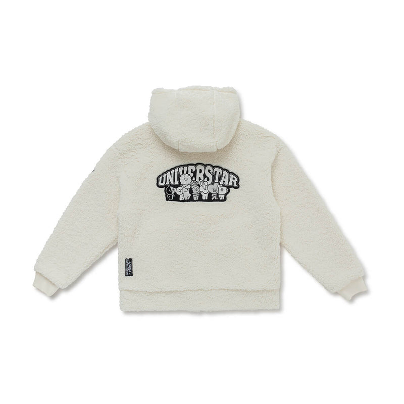 BT21 Universtar Fleece Teddy Zip Up Jacket Ivory (w/ free gift)