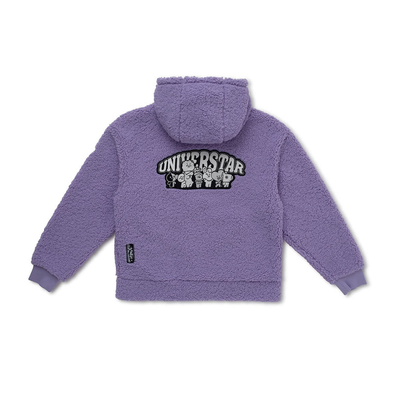 BT21 Universtar Fleece Teddy Zip Up Jacket Lavender (w/ free gift)
