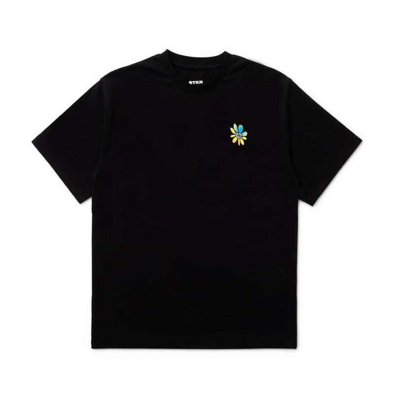 BT21 20 FLOWER Text T-Shirt Black