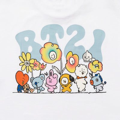BT21 20  FLOWER Text T-Shirt White