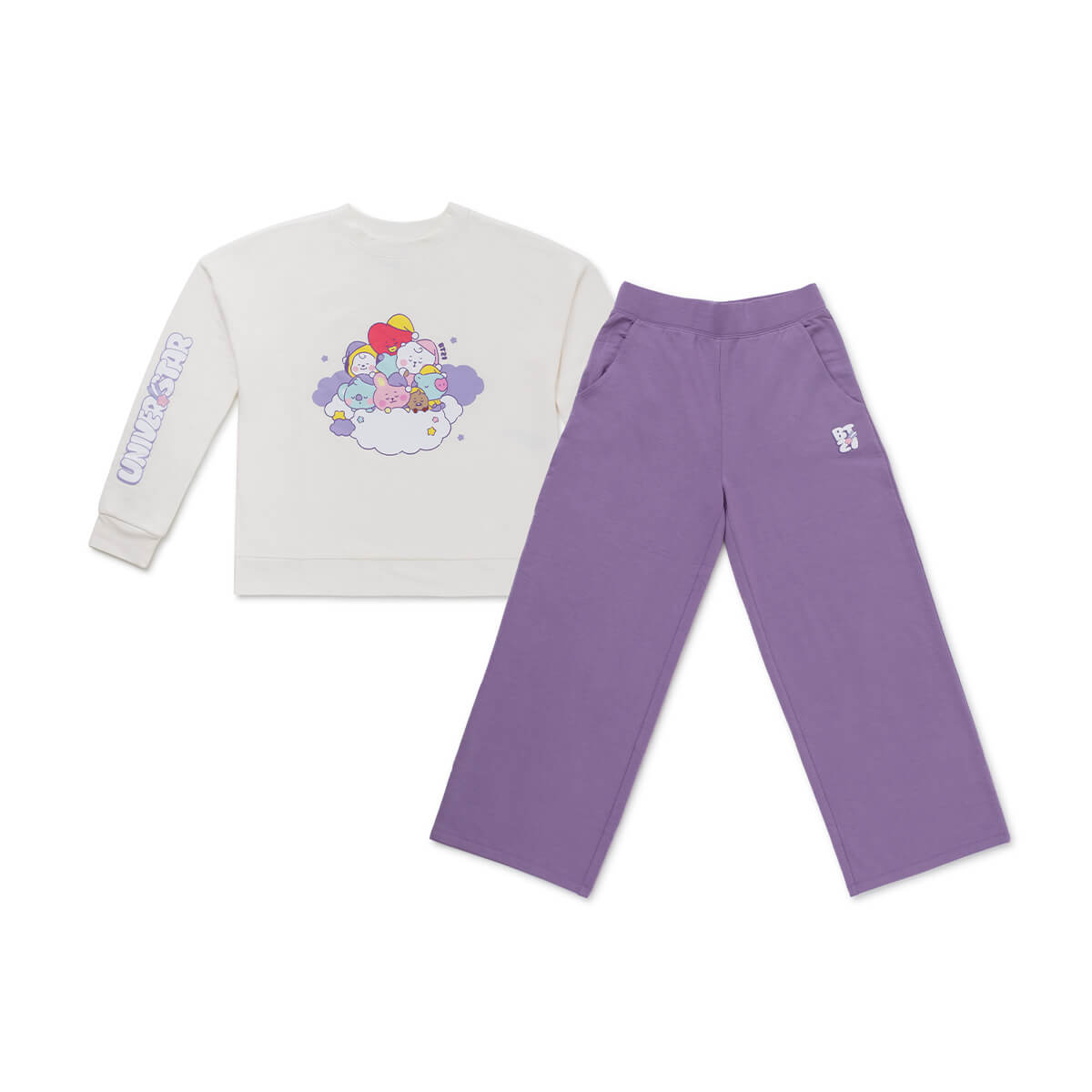 BT21 BABY Dream Adult Pajama Set Ivory / Purple