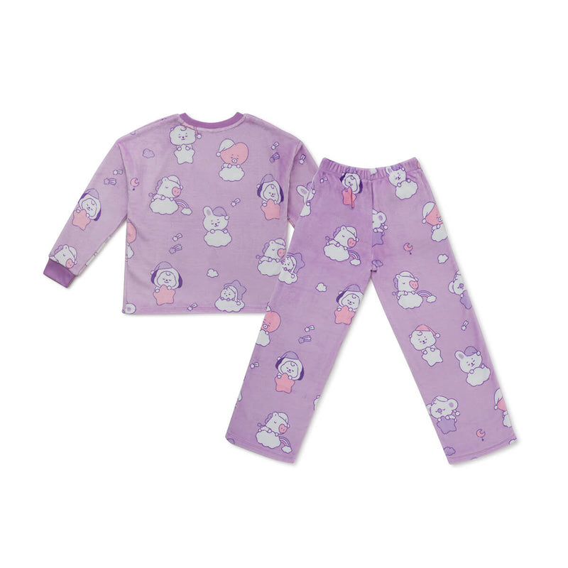 BT21 BABY Dream Adult Sherpa Pajama Set Purple